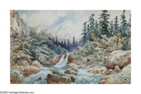 AUGUST LOHR (German 1843-1919) Mountain Stream, 1896 Watercolor on paper 11in. x 17in. Signed lower left