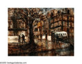 American:Impressionism, AMERICAN SCHOOL (20th Century). City Scene. Oil on canvas.12in. x 16in.. ...