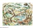 American:Impressionism, Style of MAURICE BRAZIL PRENDERGAST (American 1858-1924)ParkScene, 1921. Watercolor on paper. 20.75in. x 27.25in.. Sign...