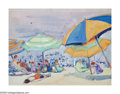 American:Impressionism, JANE PETERSON (American 1876-1965). Beach Scene: Blue, Green andOrange Umbrellas. Gouache on board. 7.5in. x 10in.. Pro...