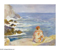 American:Impressionism, ALICE KENT STODDARD (American 1885 -1976). By the Sea. Oilon canvasboard. 16in. x 20in. Signed lower right. Stamped on ...