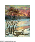 American:Impressionism, EMILIO LOMBARDO (American 1890-1949). Winter Sunset, CharlesRiver. Oil on canvas. 38in. x 30in.. Signed lower left. ...