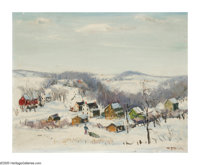 WALTER EMERSON BAUM (American 1884-1956) Snow Scene Oil on canvasboard 16in.x 20in. Signed lower right  Brian Roug