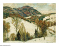 Paintings, JOHN FABIAN CARLSON (American 1875-1947). Wintry Hills. Oil on canvas laid on board. 12in. x 16in.. Signed lower right. ...