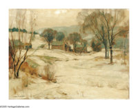 JOHN FABIAN CARLSON (American 1875-1947) Cabins in Winter Oil on canvas laid on board 12in.x 16in. Signed lower left