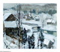 Paintings, JONAS LIE (American 1880-1940). Snowing, 1925. Oil on burlap. 25in.x 30in.. Signed, dated and inscribed (lower right): J...