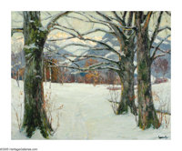 EDWARD ALFRED CUCUEL (American 1875-1954) In Winter Light Oil on canvas 25.25 x 31.5in. Signed lower right Label on