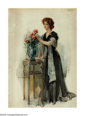 American:Impressionism, WALTER GRANVILLE SMITH (American 1870-1938). Rose.Watercolor on paper. 29.5in. x 21.5in.. Signed lower left. ...