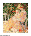 American:Impressionism, Style of MAURICE BRAZIL PRENDERGAST (American 1858-1924). Motherand Child in a Garden. Oil on canvas. 18in.x 15in.. Ins...