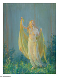 CHARLES COURTNEY CURRAN (American 1861-1942) Sunshine and Rain, 1930 Oil on canvas 40in. x 30in. Signed, titled and