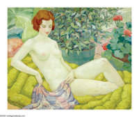 WILLIAM HENRY KEMBLE YARROW (American 1891-1941) Nude in a Garden Oil on canvas 26in. x 32in. Signed lower right