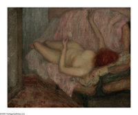 FREDERICK CARL FRIESEKE (American 1874-1939) Reclining Nude Oil on canvas 19.75in. x 24in. Signed lower right  Bri