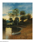 American:Marine, WILLIS HENRY PLUMMER (American b. 1838). Pond at Dusk. Oilon canvas. 24in. x 20.25in.. Signed lower left. ...