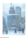 American:Impressionism, JOHANN BERTHELSEN (American 1883-1972). The Plaza, 1941. Oilon canvasboard. 12in.x 9in.. Signed lower right; signed, ti...