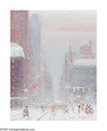 American:Impressionism, JOHANN BERTHELSEN (American 1883-1972). 60th Street and 5thAvenue, Looking South, 1961. Oil on canvas. 18in. x 14in.. S...