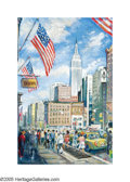 American:Impressionism, PHILLIP CORLEY (Irish b. 1944). Empire State Building. Oilon masonite. 24in. x 15.75in.. Signed with monogram lower rig...