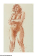 American:Ashcan, REGINALD MARSH (American 1898-1954). Female Nude. Conte crayon on paper. 16in.x 10in.. Signed lower right. ...