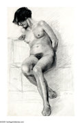 American:Academic, EDWARD HOPPER (American 1882-1967). Female Nude Study, 1901.Pencil on paper. 12in.x 8in.. Signed with initials lower ri...
