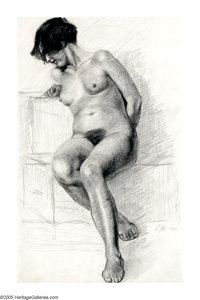 EDWARD HOPPER (American 1882-1967) Female Nude Study, 1901 Pencil on paper 12in.x 8in. Signed with initials lower ri