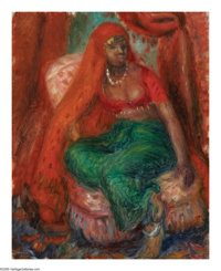 WILLIAM JAMES GLACKENS (American 1870-1938) Negress in Costume Oil on canvasboard 16in.x 12.75in. Stamped on reverse