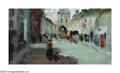 Paintings, ROBERT HENRI (American 1865-1929). Street Scene. Oil on board. 4.75in. x 7.5in.. Signed lower left. Inscribed on reverse...