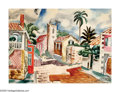 American:Modern, JAN MATULKA (American 1890- 1972). Tropical Village.Watercolor on paper with additional pencil drawing on reverse.15in...