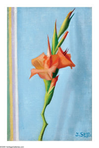 JOSEPH STELLA (American 1877-1946) Gladiolus Oil on canvas 12.5in. x 8.25in. Signed lower right Inscribed: 'Oil pai