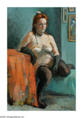 American:Ashcan, MOSES SOYER (American 1899-1974). Seated Nude, 1939. Oil oncanvas. 31in.x 21in.. Signed lower right. Brian Roughton: ...