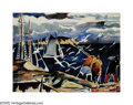 American:Marine, JAMES FLOYD CLYMER (American 1893-1982). Harbor Scene.Watercolor on paper. 15in.x 20in.. Signed lower left. ...