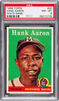 Baseball Cards:Singles (1950-1959), 1958 Topps Hank Aaron (White Name) #30 PSA NM-MT 8. ...