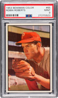 Baseball Cards:Singles (1950-1959), 1953 Bowman Color Robin Roberts #65 PSA Mint 9 - Pop Four, NoneHigher. ...