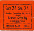 Football Collectibles:Tickets, 1926 Green Bay Packers vs. Chicago Bears Ticket Stub - 1st Game of Rivalry at Soldier Field. ...
