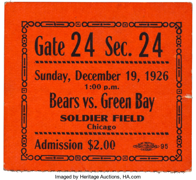 18d7ff29 1926 Green Bay Packers vs. Chicago Bears Ticket Stub - 1st Game of ...