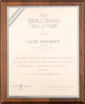 Boxing Collectibles:Memorabilia, 1987 Jack Sharkey The World Boxing Hall of Fame Presentation Plaque with Correspondence. ...