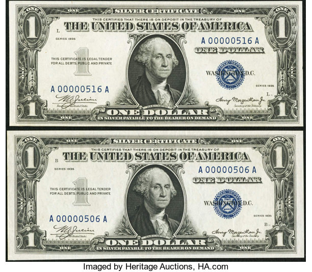 Low Serial Numbers A00000506A and A00000516A Fr. 1607 $1 | Lot ...