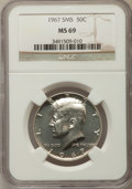 SMS Kennedy Half Dollars, 1967 50C SMS MS69 NGC. NGC Census: (14/0). Mintage 1,800,000....