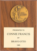 Music Memorabilia:Awards, A Connie Francis 'Bravo/Otto' Award, 1965....