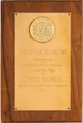 Music Memorabilia:Awards, A Connie Francis 'Photoplay Magazine' Award, 1959....