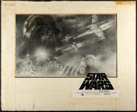 "Star Wars (20th Century Fox, 1977). Original Tom Jung Pencil Half Sheet Concept Artwork (30"" X 24"") and Half S..."
