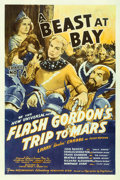 "Movie Posters:Serial, Flash Gordon's Trip to Mars (Universal, 1938). One Sheet (27"" X 41"") Chapter 14 -- ""A Beast at Bay."". ..."