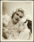 "Movie Posters:Miscellaneous, Jean Harlow Studio Portrait (MGM, c.1935). Signed Photo (8"" X10"").. ..."