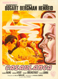 "Casablanca (Warner Brothers, 1947). First Post-War Release French Grande (46.5"" X 63.25"") Pierre Pigeot Artwor..."