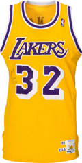 Basketball Collectibles:Uniforms, 1989-90 Magic Johnson Game Worn & Signed Los Angeles LakersJersey - MVP Season. ...