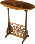 Furniture : French, Emile Gallé Marquetry Side Table with Avian Motif. Circa 1900-1910.Marquetry Gallé. Ht. 29-3/4 x 28 x 16-1/4 in.. ...
