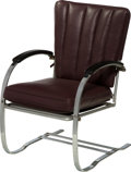 Furniture , Art Deco Chrome-Plated Steel and Leather Cantilever Armchair attributed ti Wolfgang Hoffmann for Howell. Circa 1930. Ht. 35 ...