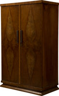 Furniture : Continental, Viennese Bookmatched Secretary Cabinet. Ht. 51-1/8 x 34 x 18-1/2in.. ...