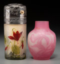 Art Glass:Daum, Daum Enameled Glass Atomizer and Charles Vessiere Cabinet Vase.Early 20th century. Cameo DAUM, NANCY, (Cross of Lorrain...(Total: 2 Items)