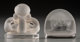Two R. Lalique Clear and Frosted Glass Pinsons and Deux Figurines Menu Holders Circa 1924. Engrave... (Total: 2 Items)