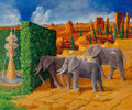 Fine Art - Painting, American, Kelly Fearing (American, 1918-2011). The Elephants WalkingTowards a Fountain. Oil on canvas. 40 x 48 inches (101.6 x12...