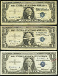 Error Notes:Error Group Lots, Gutter Fold Error Fr. 1619 $1 1957 Silver Certificates. TwoExamples. Fine or Better;. Shifted Third Printing Error Fr. 1619$... (Total: 3 notes)